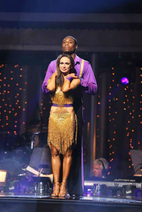 "<div class=""meta ""><span class=""caption-text "">NFL star Jacoby Jones and Karina Smirnoff await their fate on the 'Dancing With The Stars' season 16 finale on May 21, 2013.  The previous day, the pair received 27 out of 30 points from the judges for their Freestyle routine, 27 out of 30 points for their Jive and 2 extra points for their Cha Cha Cha, which brought their week's total to 56 out of 65. (ABC Photo/ Adam Taylor)</span></div>"