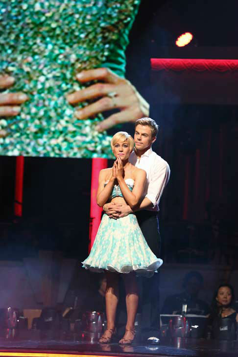 Kellie Pickler, an 'American Idol' alum, and partner Derek Hough await their fate on the 'Dancing With The Stars' season 16 finale on May 21, 2013.