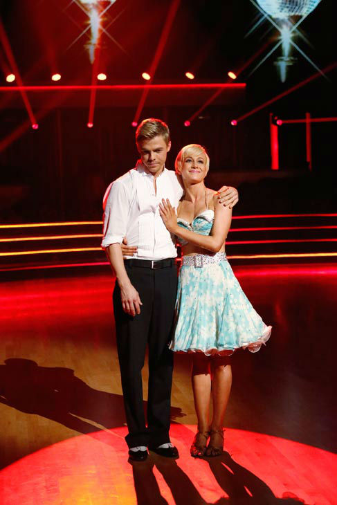 Kellie Pickler and her partner Derek Hough await their fate on the 'Dancing With The Stars' season 16 finale on May 21, 2013.