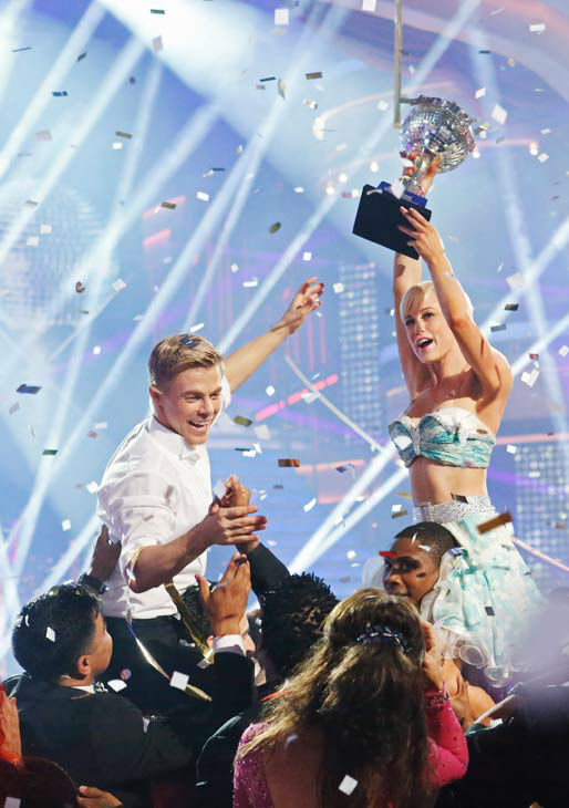 Kellie Pickler, an &#39;American Idol&#39; alum, and partner Derek Hough react after they are announced as the winners of &#39;Dancing With The Stars&#39; on the ABC show&#39;s season 16 finale on May 21, 2013. The previous day, the pair received 30 out of 30 points from the judges for their Quickstep routine, 30 out of 30 points for their Freestyle and 4 extra points for their Cha Cha Cha, which brought their week&#39;s total to 64 out of 65. <span class=meta>(ABC Photo&#47; Kelsey McNeal)</span>