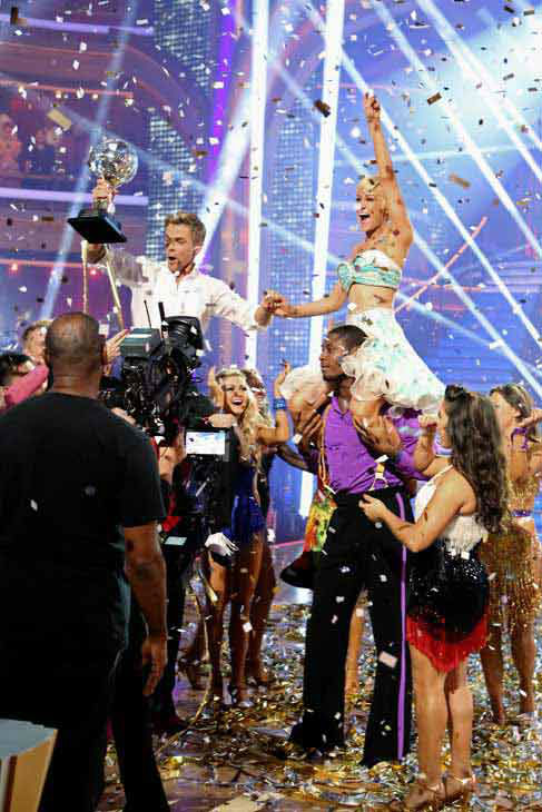 Kellie Pickler, an 'American Idol' alum, and partner Derek Hough react after they are announced as the winners of 'Dancing With The Stars' on the ABC show's season 16 finale on May 21, 2013.