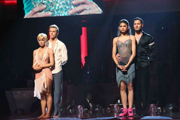 Kellie Pickler, Derek Hough and Zendaya, Val Chmerkovskiy appear on the 'Dancing With The Stars' season 16 finale on May 21, 2013.
