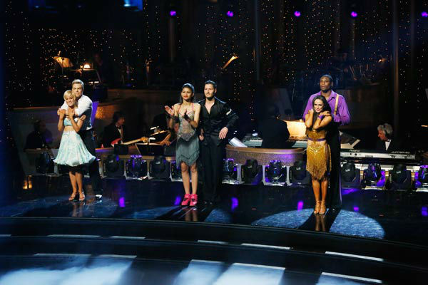Kellie Pickler, Derek Hough, Zendaya, Val Chmerkovskiy, Karina Smirnoff and Jacoby Jones await their fate on the &#39;Dancing With The Stars&#39; season 16 finale on May 21, 2013. <span class=meta>(ABC Photo&#47; Kelsey McNeal)</span>