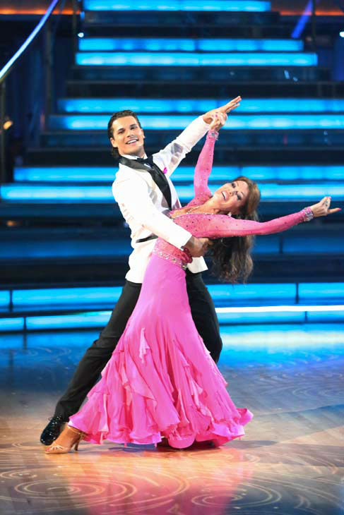 Former contestant and 'Real Housewives of Beverly Hills' star Lisa Vanderpump and former partner Gleb Savchenko perform on the 'Dancing With The Stars' season 16 finale on May 21, 2013.
