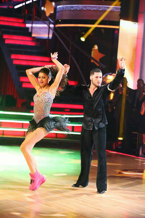 "<div class=""meta ""><span class=""caption-text "">'Shake It Up' actress Zendaya and partner Val Chmerkovskiy dance the Instant Jive on week 10 of 'Dancing With The Stars' on May 21, 2013. They received 30 out of 30 points from the judges, bringing their week's cumulative score to 95 out of 95 points.  (ABC Photo/ Adam Taylor)</span></div>"