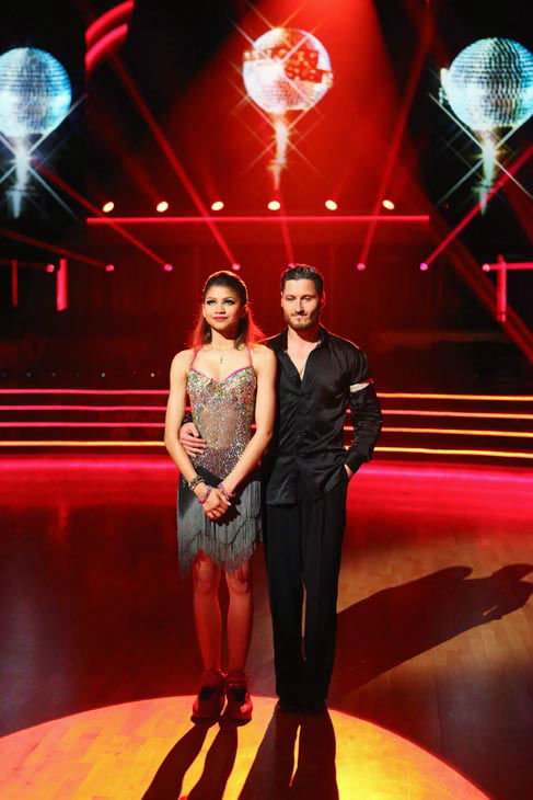 Zendaya and Val Chmerkovskiy await their fate on the 'Dancing With The Stars' season 16 finale on May 21, 2013.