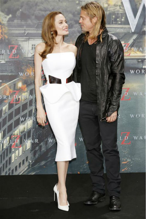 Angelina Jolie and Brad Pitt attend the premiere of &#39;World War Z&#39; in Berlin, Germany on June 4, 2013. The two met on the set of the 2005 movie &#39;Mr. and Mrs. Smith&#39; and share six children. <span class=meta>(John Rasimus &#47; Startraksphoto.com)</span>