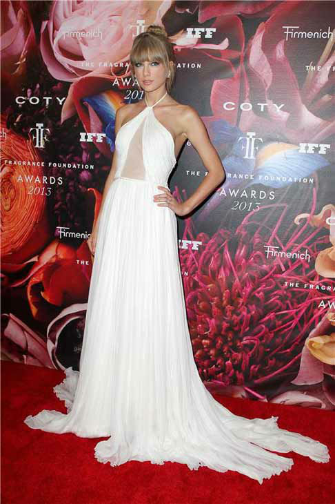 Taylor Swift wore an elegant white floor-length Emilio Pucci dress at The Fragrance Foundation Awards in New York City on June 12, 2013. <span class=meta>(Amanda Schwab &#47; startraksphoto.com)</span>