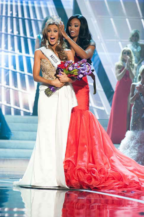 Miss Connecticut USA 2013, Erin Brady of East Hampton, is crowned as Miss USA 2013 by Miss USA 2012, Nana Meriwether, at the conclusion of the 2013 MISS USA Competition at PH Live in Las Vegas, Nevada on Sunday June 16, 2013. <span class=meta>(Miss Universe Organization L.P. &#47; Patrick Prather)</span>
