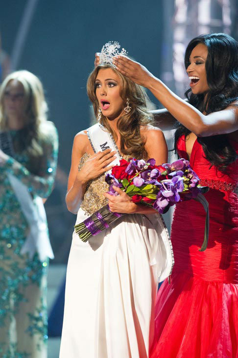 Miss Connecticut USA 2013, Erin Brady of East Hampton, is crowned Miss USA 2013 by Miss USA 2012, Nana Meriwether, at the conclusion of the 2013 MISS USA Competition at PH Live in Las Vegas, Nevada on Sunday June 16, 2013. <span class=meta>(Miss Universe Organization L.P. &#47; Darren Decker)</span>