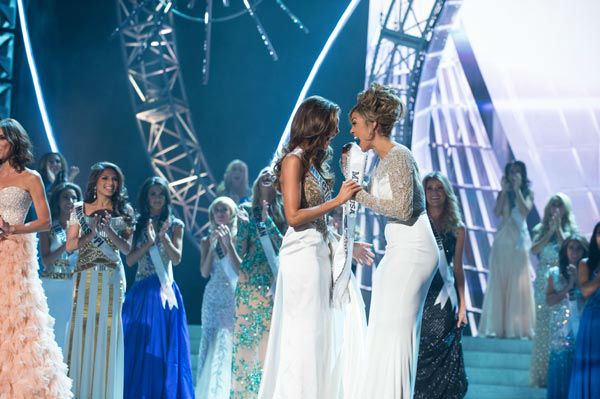 Miss Connecticut USA 2013, Erin Brady of East Hampton, is announced as Miss USA 2013, and congratulated Miss Teen USA 2012, at the conclusion of the 2013 MISS USA Competition at PH Live in Las Vegas, Nevada on Sunday June 16, 2013.  <span class=meta>(Miss Universe Organization L.P. &#47; Greg Harbaugh)</span>