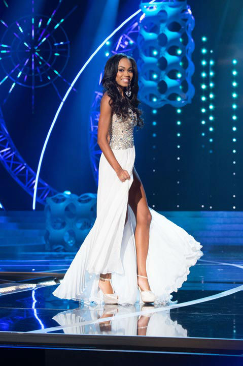 "<div class=""meta ""><span class=""caption-text "">Miss North Carolina USA 2013, Ashley Love-Mills, competes in her evening gown during the 2013 MISS USA Competition at PH Live in Las Vegas, Nevada on Sunday June 16, 2013.  (Photo/Patrick Prather)</span></div>"