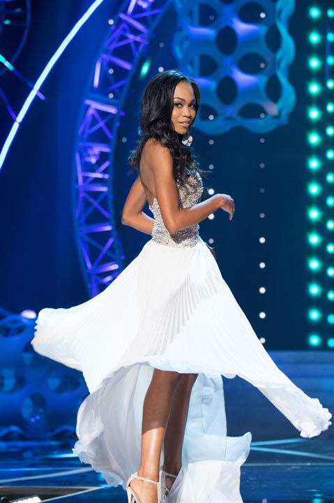 Miss North Carolina USA 2013, Ashley Love-Mills, competes in her evening gown during the 2013 MISS USA Competition at PH Live in Las Vegas, Nevada on Sunday June 16, 2013.  <span class=meta>(Photo&#47;Patrick Prather)</span>