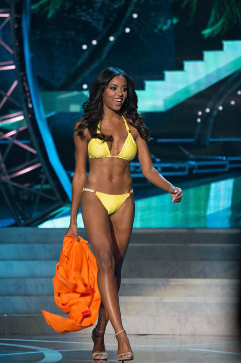 "<div class=""meta ""><span class=""caption-text "">Miss South Carolina USA 2013, Megan Pinckney, competes in her ViX Paula Hermanny swimsuit during the 2013 MISS USA Competition at PH Live in Las Vegas, Nevada on Sunday June 16, 2013.  (Photo/Richard Harbaugh)</span></div>"