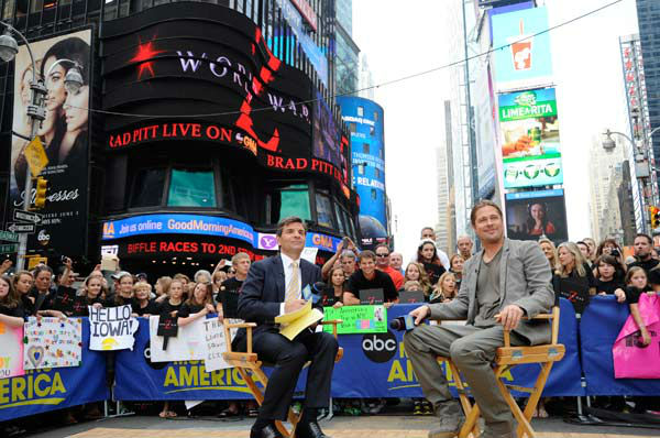 Brad Pitt was interview by 'Good Morning America' co-host George Stephanopoulos on June 17, 2013.