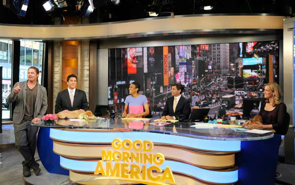 Brad Pitt appeared with 'Good Morning America' co-hosts Josh Elliott Robin Roberts, George Stephanopoulos and Lara Spencer on June 17, 2013, while the hosts were promoting the show's 'Dog vs. Dog' contest with a few golden retriever puppies.