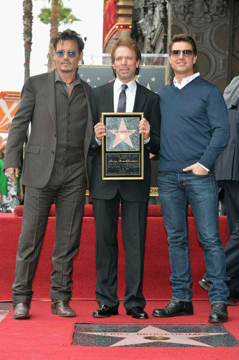 Actor Johnny Depp, producer Jerry Bruckheimer and actor Tom Cruise attend Legendary Producer Jerry Bruckheimer Hollywood Walk of Fame Star Ceremony on the Hollywood Walk of Fame on June 24, 2013 in Hollywood, California. <span class=meta>(Alberto E. Rodriguez &#47; Wireimage &#47; The Walt Disney Company)</span>