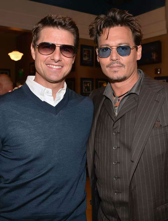 Actors Tom Cruise and Johnny Depp attends Legendary Producer Jerry Bruckheimer Hollywood Walk of Fame Star Ceremony on the Hollywood Walk of Fame on June 24, 2013 in Hollywood, California. <span class=meta>(Alberto E. Rodriguez &#47; Wireimage &#47; The Walt Disney Company)</span>