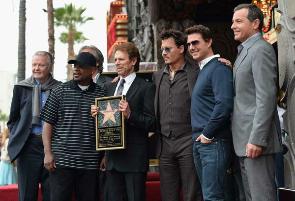 Actors Jon Voight, Martin Lawerence, producer Jerry Bruckheimer, actors Johnny Depp, Tom Cruise and The Walt Disney Company Chairman and CEO Bob Iger attend Legendary Producer Jerry Bruckheimer Hollywood Walk of Fame Star Ceremony.