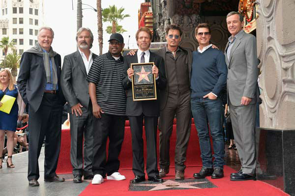 Actors Jon Voight, Martin Lawerence, producer Jerry Bruckheimer, actors Johnny Depp, Tom Cruise and The Walt Disney Company Chairman and CEO Bob Iger attend Legendary Producer Jerry Bruckheimer Hollywood Walk of Fame Star Ceremony on the Walk of Fame.