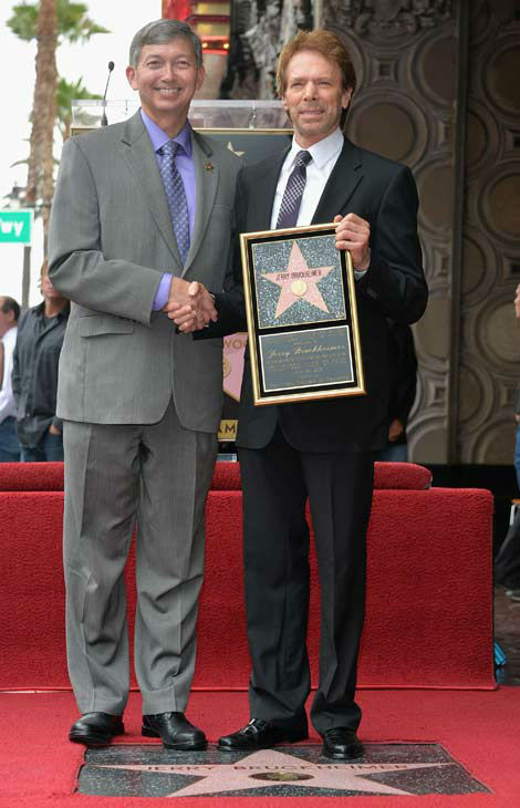 Hollywood Chamber of Commerce President and CEO Leron Gubler and producer Jerry Bruckheimer attend Legendary Producer Jerry Bruckheimer Hollywood Walk of Fame Star Ceremony on the Hollywood Walk of Fame on June 24, 2013 in Hollywood, California.   <span class=meta>(Alberto E. Rodriguez &#47; Wireimage &#47; The Walt Disney Company)</span>