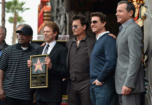 Producer Jerry Bruckheimer, actors Johnny Depp and Tom Cruise attend Legendary Producer Jerry Bruckheimer Hollywood Walk of Fame Star Ceremony on the Hollywood Walk of Fame on June 24, 2013 in Hollywood, California.