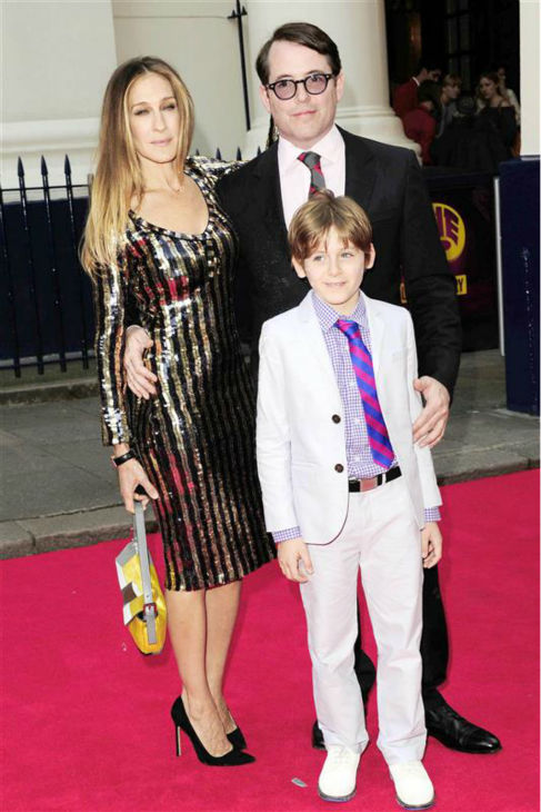 Sarah Jessica Parker and husband Matthew Broderick appear with their son James at a press event celebrating the &#39;Charlie and the Chocolate Factory&#39; show at the Theatre Royal in London on June 25, 2013. The celebrity pair, who wed in May 1999, are also parents to twin daughters. <span class=meta>(Peter &#47; Startraksphoto.com)</span>