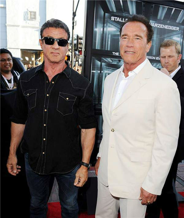 "<div class=""meta image-caption""><div class=""origin-logo origin-image ""><span></span></div><span class=""caption-text"">Sylvester Stallone and Arnold Schwarzenegger appear at the screening of 'Escape Plan' at San Diego Comic-Con on July 18, 2013. (Daniel Robertson/startraksphoto.com)</span></div>"