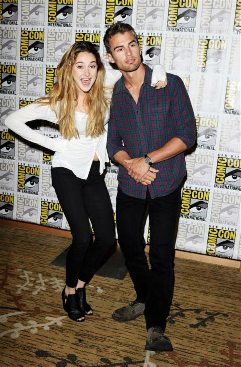 Shailene Woodley &#40;Tris&#41; and Theo James &#40;Four&#41; appear at the 2013 San Diego Comic-Con convention in San Diego, California on July 18, 2013. <span class=meta>(Daniel Robertson &#47; Startraksphoto.com)</span>