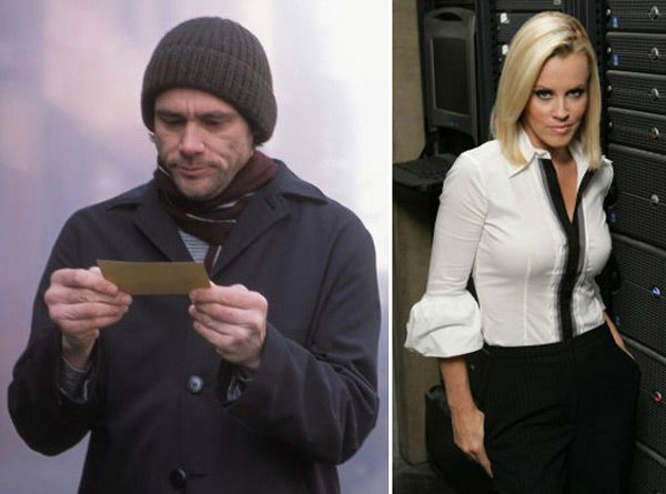 Following a rough year in 2005, McCarthy began publicly dating comedic actor Jim Carrey in July 2006, according to People, after being spotted together at a Radiohead concert in Los Angeles and taking in a romantic helicopter ride.  &#40;Pictured: Jim Carrey in a scene from &#39;Eternal Sunshine of the Spotless Mind&#39; and Jenny McCarthy in &#39;Chuck.&#39;&#41; <span class=meta>(Photos: Courtesy of Focus Features and Warner Bros. Television)</span>