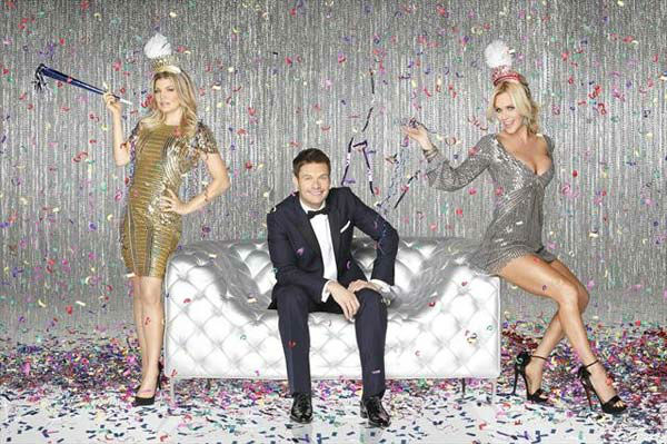 Pictured: Pop singer Fergie, television host Ryan Seacrest and Jenny McCarthy posing for a promotional photo for ABC's 'Dick Clark's New Year's Rockin' Eve.'