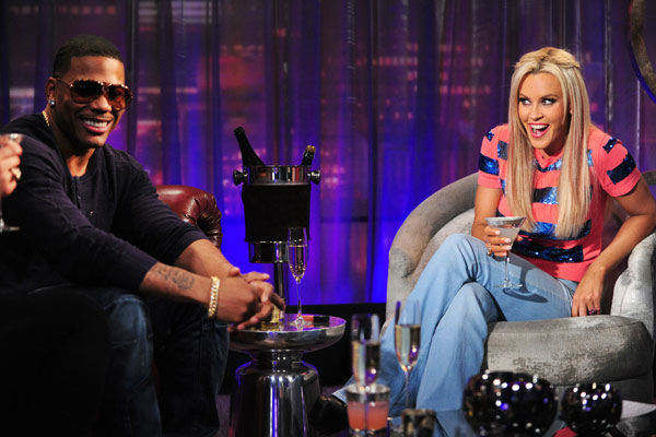 Pictured: Rapper Nelly and Jenny McCarthy on the set of 'The Jenny McCarthy Show' on May 10, 2013.
