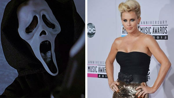 Pictured: Ghostface from the 1996 film 'Scream' and Jenny McCarthy arriving at the 2012 'American Music Awards.'