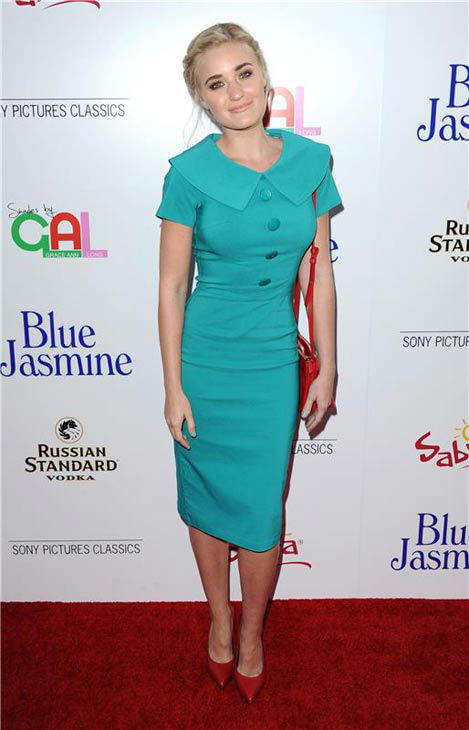 AJ Michalka appears at the Los Angeles premiere of 'Blue Jasmine' on July 24, 2013.