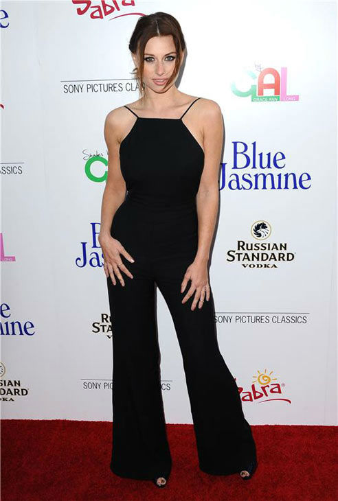 Aly Michalka appears at the Los Angeles premiere of 'Blue Jasmine' on July 24, 2013.