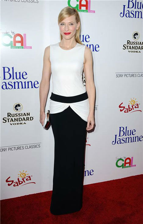 Cate Blanchett appears at the Los Angeles premiere of 'Blue Jasmine' on July 24, 2013.