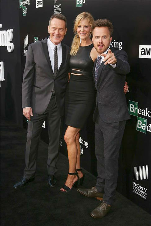 Bryan Cranston, Anna Gunn and Aaron Paul pose together for photographers on the black carpet at the AMC party celebrating the fifth and final season of the hit show &#39;Breaking Bad.&#39; <span class=meta>(Chris Hatcher&#47;startraksphoto.com)</span>