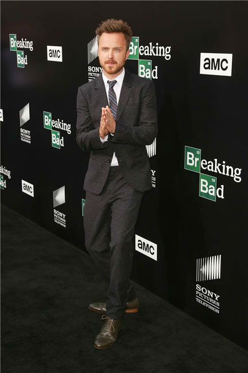 Aaron Paul interacts with photographers on the black carpet at the AMC party celebrating the fifth and final season of the hit show &#39;Breaking Bad.&#39; <span class=meta>(Chris Hatcher&#47;startraksphoto.com)</span>