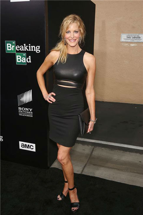 Anna Gunn poses for photographers in a form-fitting little black dress on the matching black carpet at the AMC party celebrating the fifth and final season of the hit show &#39;Breaking Bad.&#39; <span class=meta>(Chris Hatcher&#47;startraksphoto.com)</span>