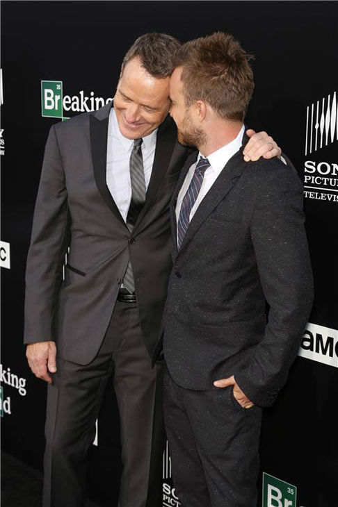 Bryan Cranston and Aaron Paul share a laugh on the black carpet at the AMC party celebrating the fifth and final season of the hit show &#39;Breaking Bad.&#39; <span class=meta>(Chris Hatcher&#47;startraksphoto.com)</span>