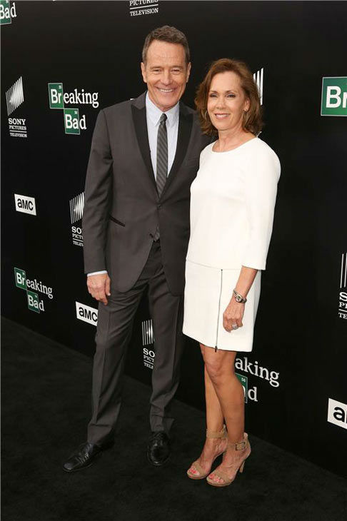 "<div class=""meta ""><span class=""caption-text "">Bryan Cranston and wife Robin Dearden walk together on the black carpet at the AMC party celebrating the fifth and final season of the hit show 'Breaking Bad.' (Chris Hatcher/startraksphoto.com)</span></div>"