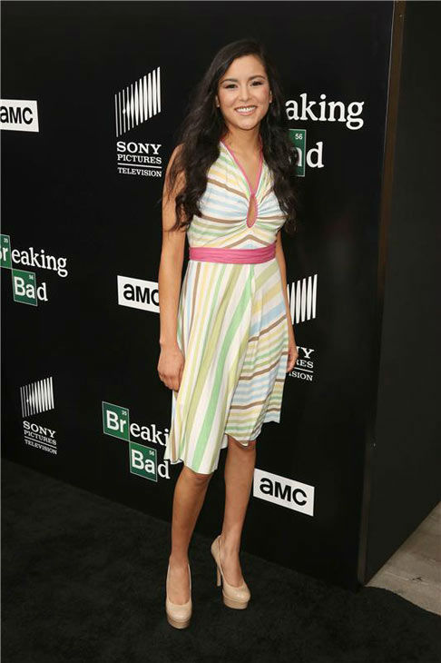 Emily Rios wears a multi-color dress at the AMC party celebrating the fifth and final season of the hit show &#39;Breaking Bad.&#39; <span class=meta>(Chris Hatcher&#47;startraksphoto.com)</span>