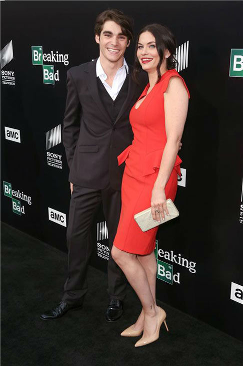 RJ Mitte and Jodi Lyn O&#39;Keefe pose together on the black carpet at the AMC party celebrating the fifth and final season of the hit show &#39;Breaking Bad.&#39; <span class=meta>(Chris Hatcher&#47;startraksphoto.com)</span>