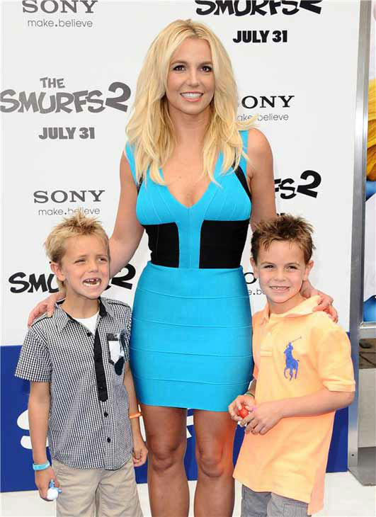 Britney Spears appears with her sons Sean Preston, 8, and Jayden James, 7, at the Los Angeles premiere of &#39;The Smurfs 2&#39; on July 28, 2013.  <span class=meta>(Sara De Boer &#47; startraksphoto.com)</span>