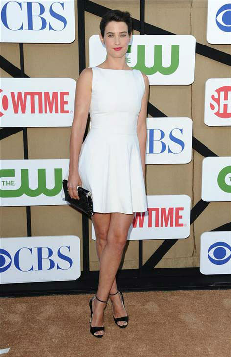 Cobie Smulders, star of the CBS show &#39;How I Met Your Mother,&#39; wore a sleek white dress at the CBS, CW and Showtime TCA event in Beverly Hills, California on July 29, 2013. <span class=meta>(Sara De Boer&#47;startraksphoto.com)</span>
