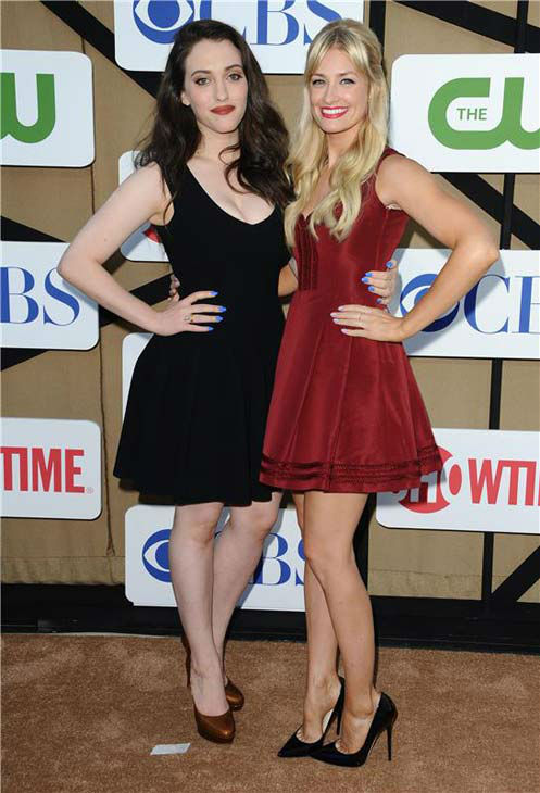 Kat Dennings and Beth Behrs, stars of the CBS show &#39;2 Broke Girls,&#39; posed together at the CBS, CW and Showtime TCA event in Beverly Hills, California on July 29, 2013. <span class=meta>(Sara De Boer&#47;startraksphoto.com)</span>
