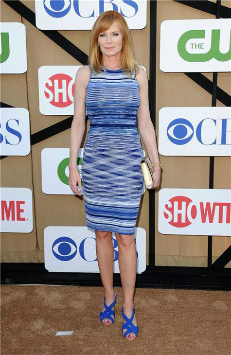 Marg Helgenberger, star of the upcoming CBS show &#39;Intelligence,&#39; wore a blue and white dress at the CBS, CW and Showtime TCA event in Beverly Hills, California on July 29, 2013. <span class=meta>(Sara De Boer&#47;startraksphoto.com)</span>