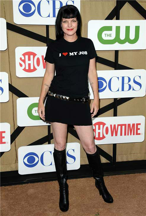 Pauley Perrette, star of the CBS show &#39;NCIS,&#39; sports a T-shirt that reads &#39;I &#40;heart&#41; my job&#39; at the CBS, CW and Showtime TCA event in Beverly Hills, California on July 29, 2013. <span class=meta>(Sara De Boer&#47;startraksphoto.com)</span>