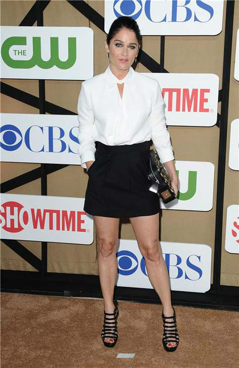 "<div class=""meta ""><span class=""caption-text "">Robin Tunney, star of the CBS show 'The Mentalist,' wore a white shirt and black skirt on the tan carpet at the CBS, CW and Showtime TCA event in Beverly Hills, California on July 29, 2013. (Sara De Boer/startraksphoto.com)</span></div>"
