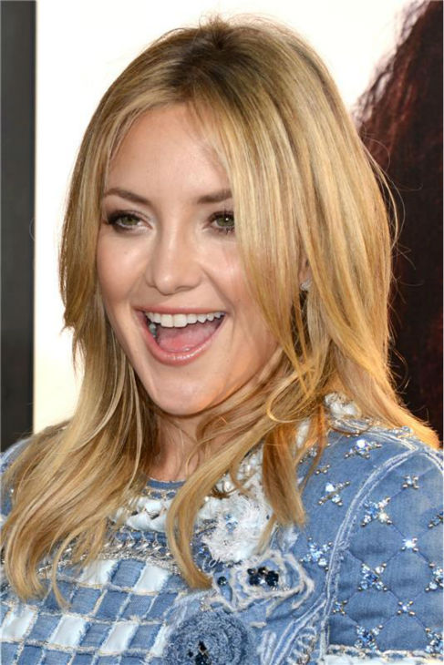 Kate Hudson attends the premiere of the HBO film &#39;Clear History&#39; at the Cinerama Dome in Hollywood, California on July 31, 2013. She is wearing a denim, patchwork-printed Balmain Resort 2014 mini dress. <span class=meta>(Tony DiMaio &#47; startraksphoto.com)</span>